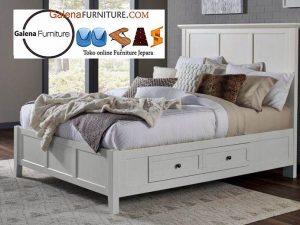 tempat tidur laci minimalis putih duco