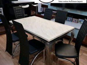 meja makan marmer 6 kursi