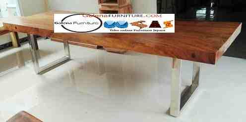meja makan trembesi di jakarta kaki stainless