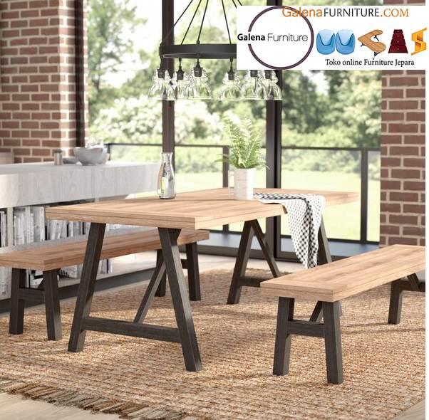 set meja makan kursi bangku kayu jati