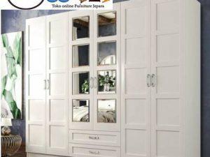 Lemari Pakaian Surabaya 6 Pintu Putih Minimalis
