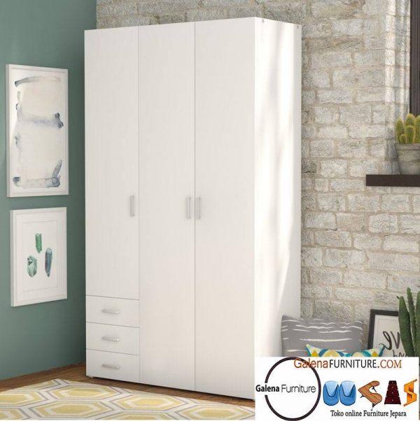 lemari pakaian 3 pintu putih duco semarang
