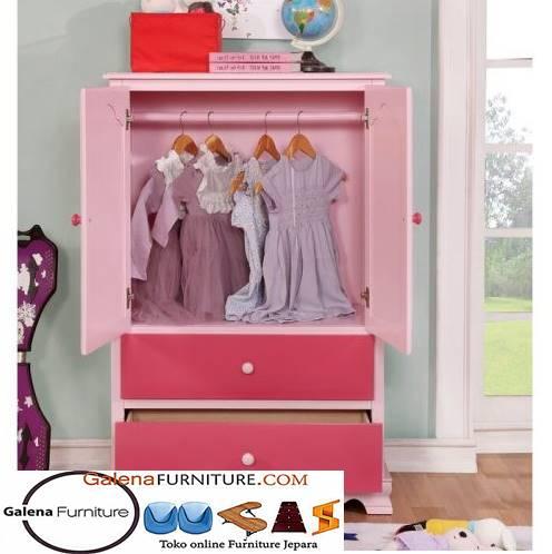 Jual Lemari Pakaian Anak Malang warna Pink