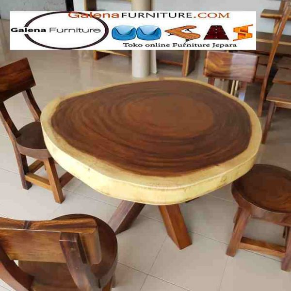 meja bulat kayu trembesi