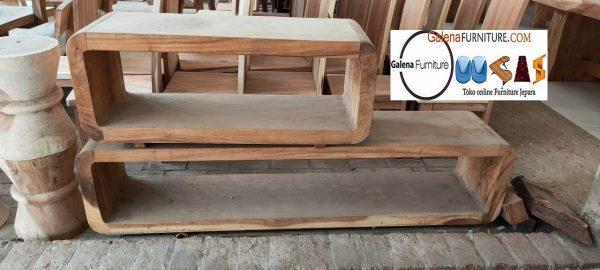 meja tv kayu trembesi