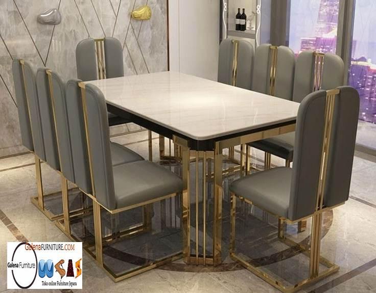 Harga Meja Makan Marmer 8 Kursi Desain Modern