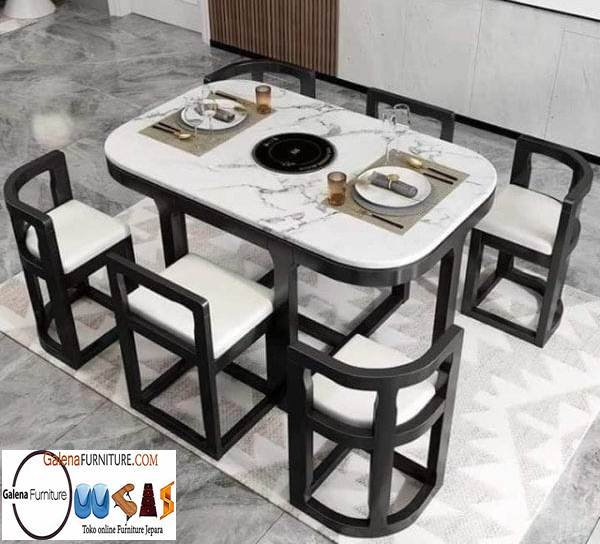 Jual Meja Makan Marmer Carrara Putih Harga Murah