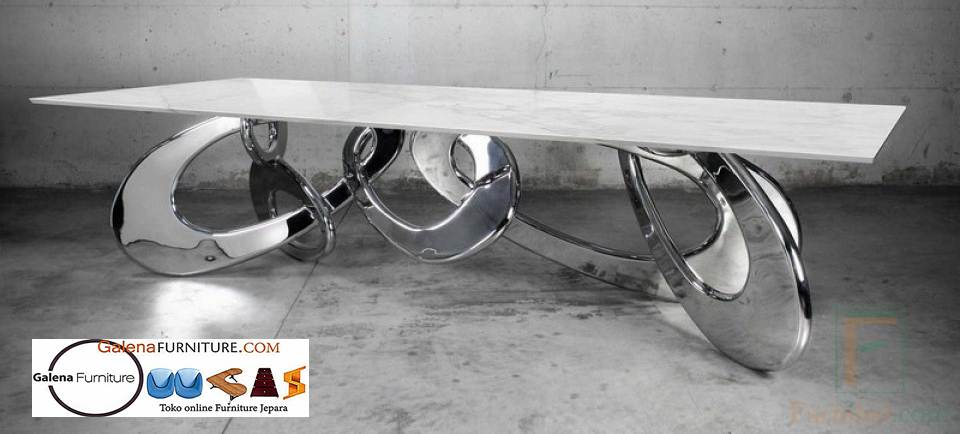 Kaki Meja Makan Stainless Steel Anti Karat Modern