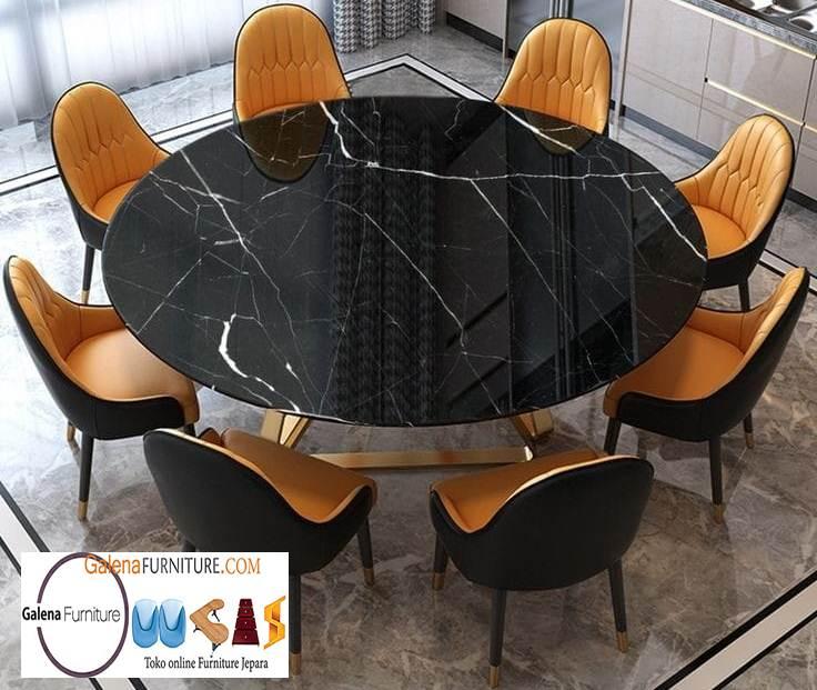 Meja Makan Marmer Bulat Besar Untuk Makan Mewah