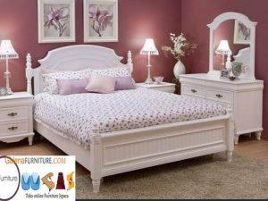 Jual Tempat Tidur Mewah Duco Cat Putih Minimalis Klasik